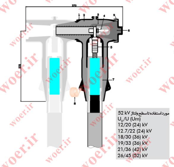 سرکابل جداشونده 630 آمپر، 36 کیلو ولت پیچ و مهره ای مدل عقبی (انشعابی)